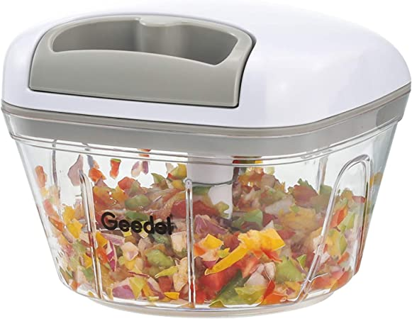 Picadora de Alimentos, Picadora Manual Fácil de Limpiar y Segura, Picadora de Verduras Rápida para Verduras, Frutas y Nueces: Amazon.es: Hogar