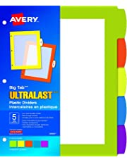 Avery Big Tab UltraLast Plastic Dividers for Laser and Inkjet Printers, 5 tabs, Multi-Colour, 1 Set, (24900)