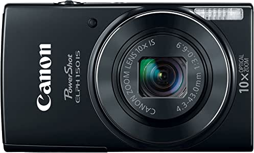Canon PowerShot ELPH 150 IS 20MP 10X Optical Zoom Digital Camera - Black