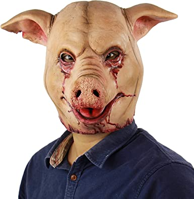 Scary Animal Halloween Masks.Amazon Com Scary Animal Latex Mask Halloween Costume Cosplay Props Bloody Pig Head Butcher Horror Adult Head Mask Clothing