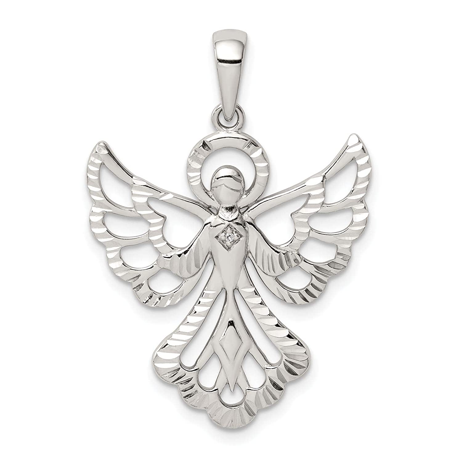 925 Sterling Silver Polished /& Diamond-cut Angel w//Diamond Accent Charm Pendant