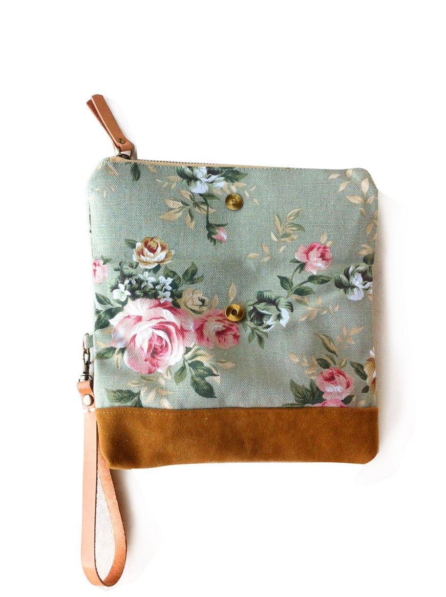SET OF 12 Borann -Bridesmaid Gift-Bridesmaid clutchWomen Floral Monogram Canvas Clutch Handbag Purse Bridesmaid Gift Personalized Your Name