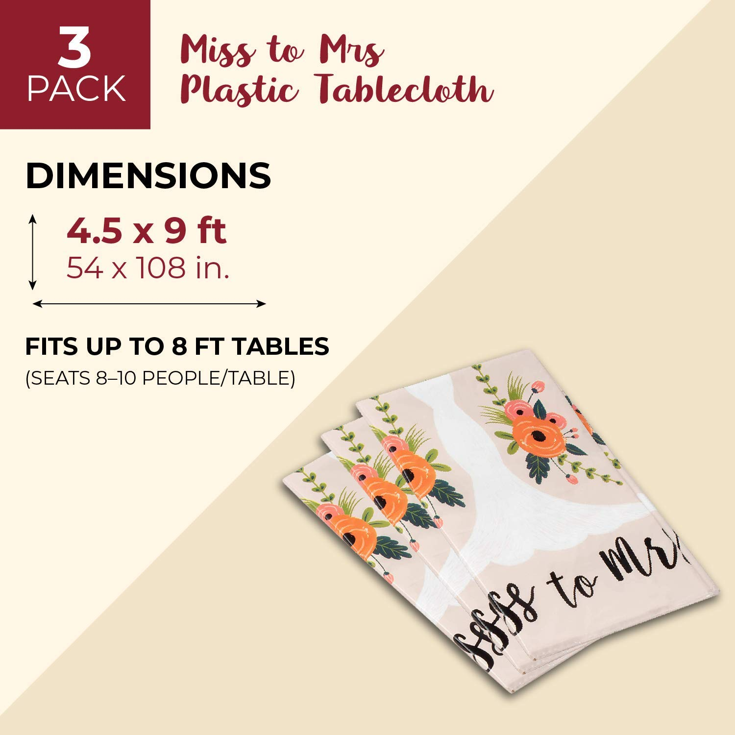 Bridal Wedding Shower Table Cover Party Supplies 54 x 108 Inches Juvale 3-Pack Miss to Mrs Plastic Tablecloth