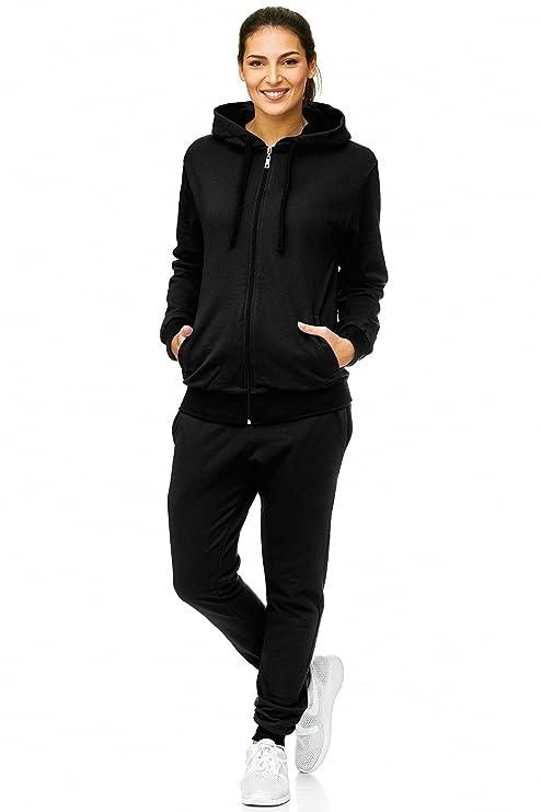 Violento Damen Jogging-Anzug | Baumwolle | Trainings-Jacke mit Reißverschluss |Hose mit Tunnelzug und Zugband | Uni 586 | S-3