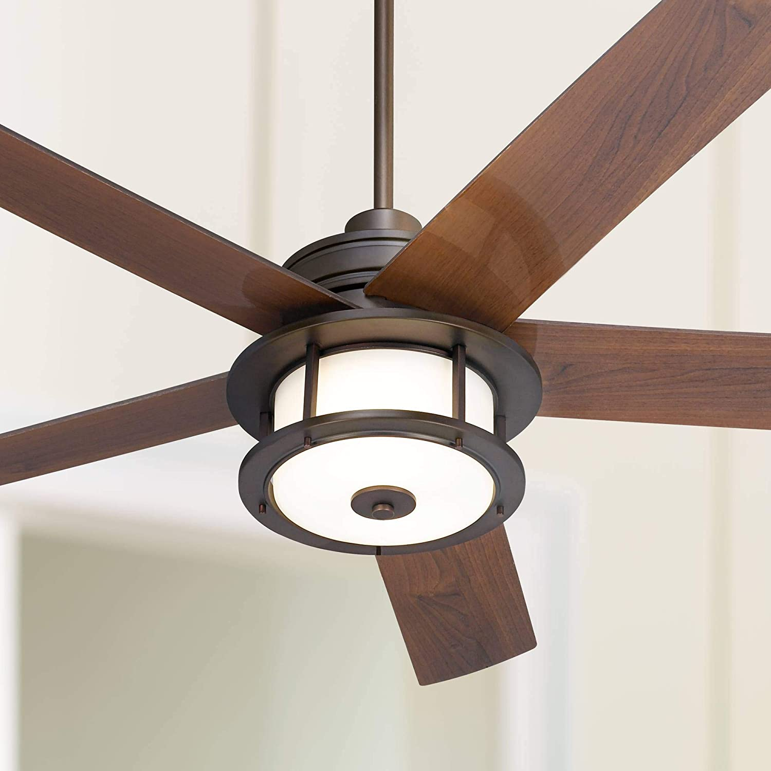 60 Casa Largo Modern Outdoor Ceiling Fan With Light Led Oil Brushed Bronze Dark Walnut Blades Frosted White Glass Damp Rated For Patio Porch Casa Vieja Amazon Com