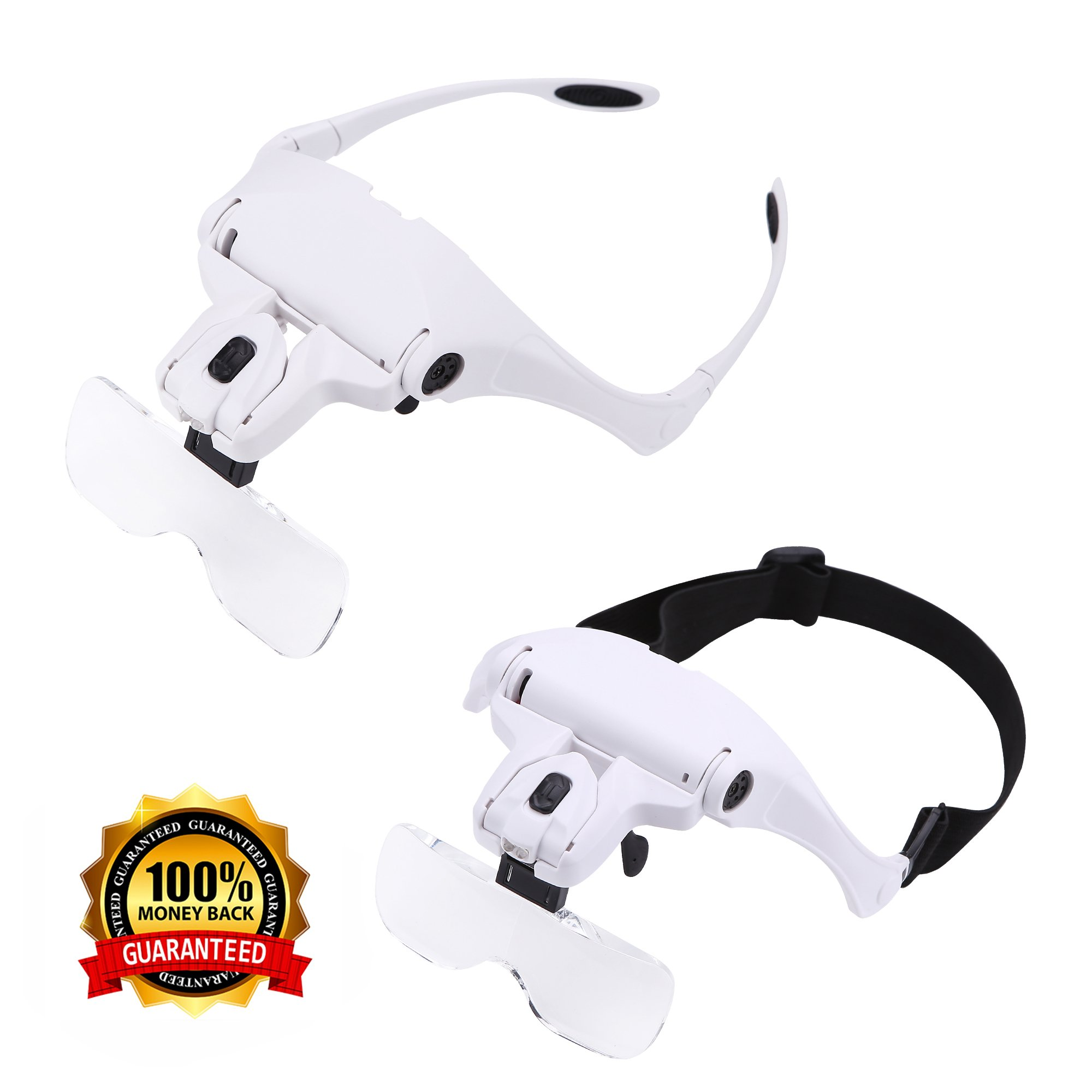 Headband Mount Magnifier LED Illuminated Head Magnifying Glass Jeweler's Loupe Light Bracket Interchangeable 5 Replaceable Lenses:1.0X/1.5X/2.0X/2.5X/3.5X