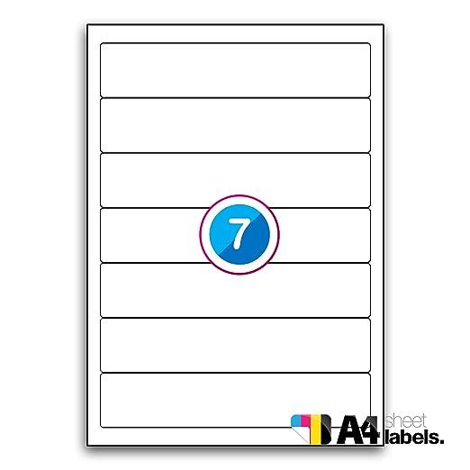 Multi Propósito blanco permanente etiquetas para archivadores - 7 etiquetas por hoja - 100 hojas 192 mm x 39 mm: Amazon.es: Oficina y papelería