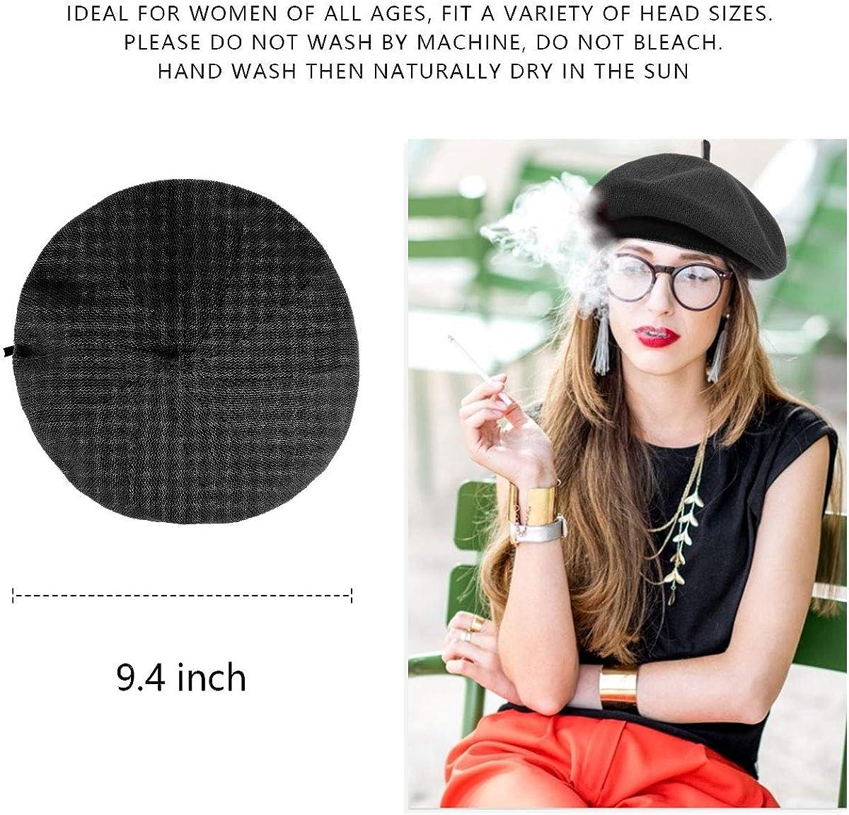 Unisex PU Artist Hat 1940s Vintage Classic French Beret Hat Adjustable Pumpkin Knit Hat Beanie Cap Black BLURBE Women Beret Hats