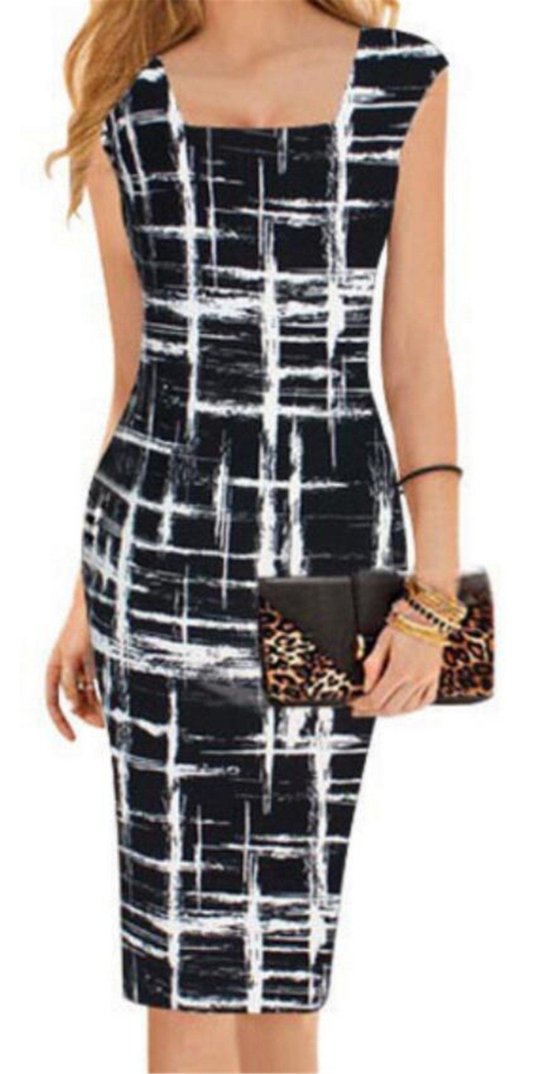 KLJR-Women Elegant Square Neck Striped Wear to Work Cocktail Bodycon Pencil Dress Aspic US L