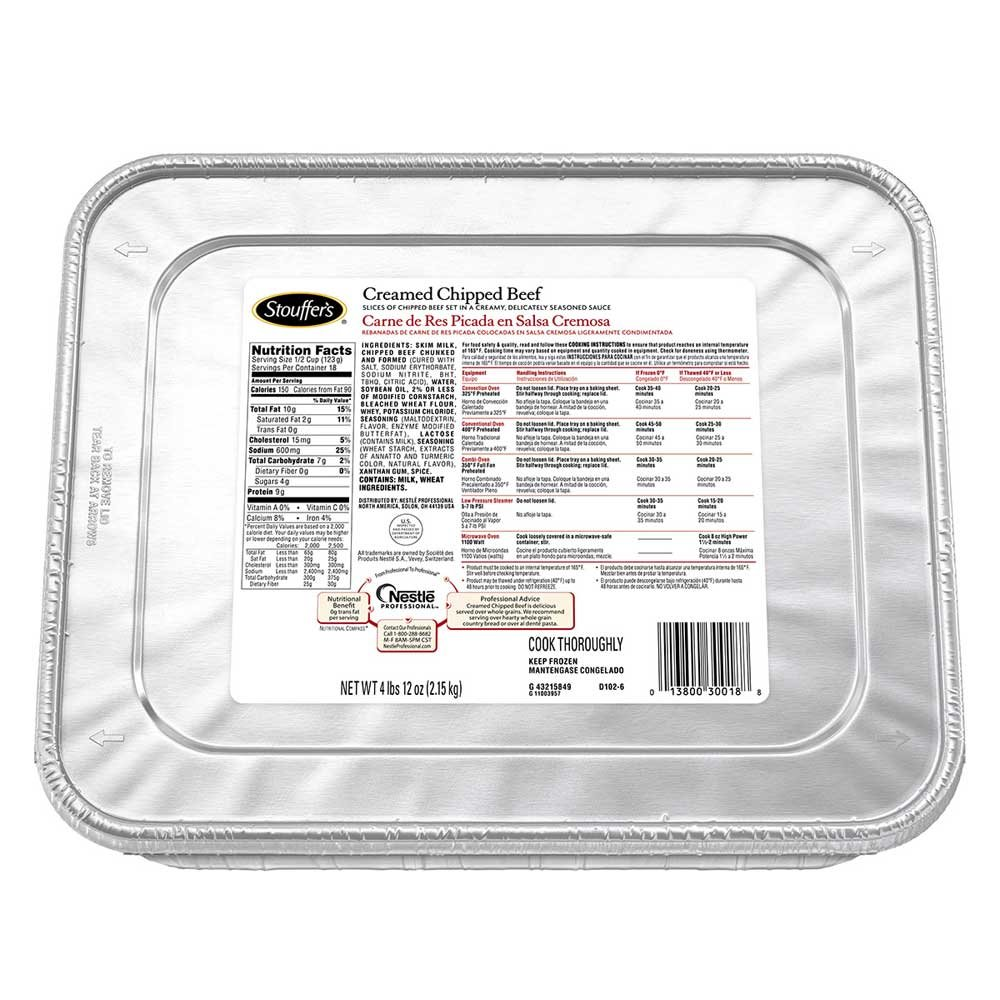 Amazon.com: Nestle Stouffers Creamed Chipped Beef, 76 Ounce - 4 per case.