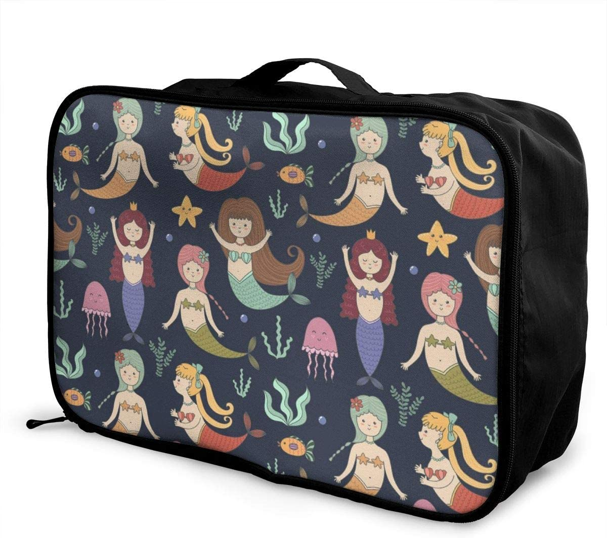 Yunshm Cute Mermaids Seamless Pattern Vector Image Customized Trolley Handbag Waterproof Unisex Large Capacity For Business Travel Storage