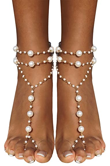 2e7696a69f2 Bienvenu Ivory Pearl Beach Wedding Barefoot Sandals Dancing Ankle Bracelet