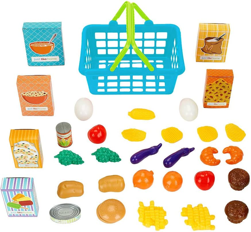 Just Like Home 35 Piece Shopping Basket - Blue