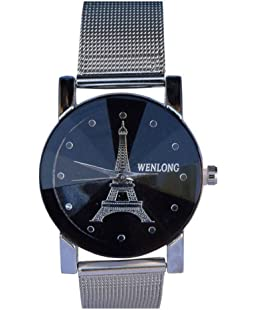 Satva-The Brand Steel Belt Black Dial Effel Tower Design Watch for Girls Women