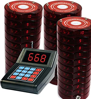 SHIHUI 30 Coaster Pagers+1 Keypad Queue Call Pager Restaurant Wireless Calling System Waiter Wireless Guest Paging System for Restaurant Church Food Truck Coffee Shop Office