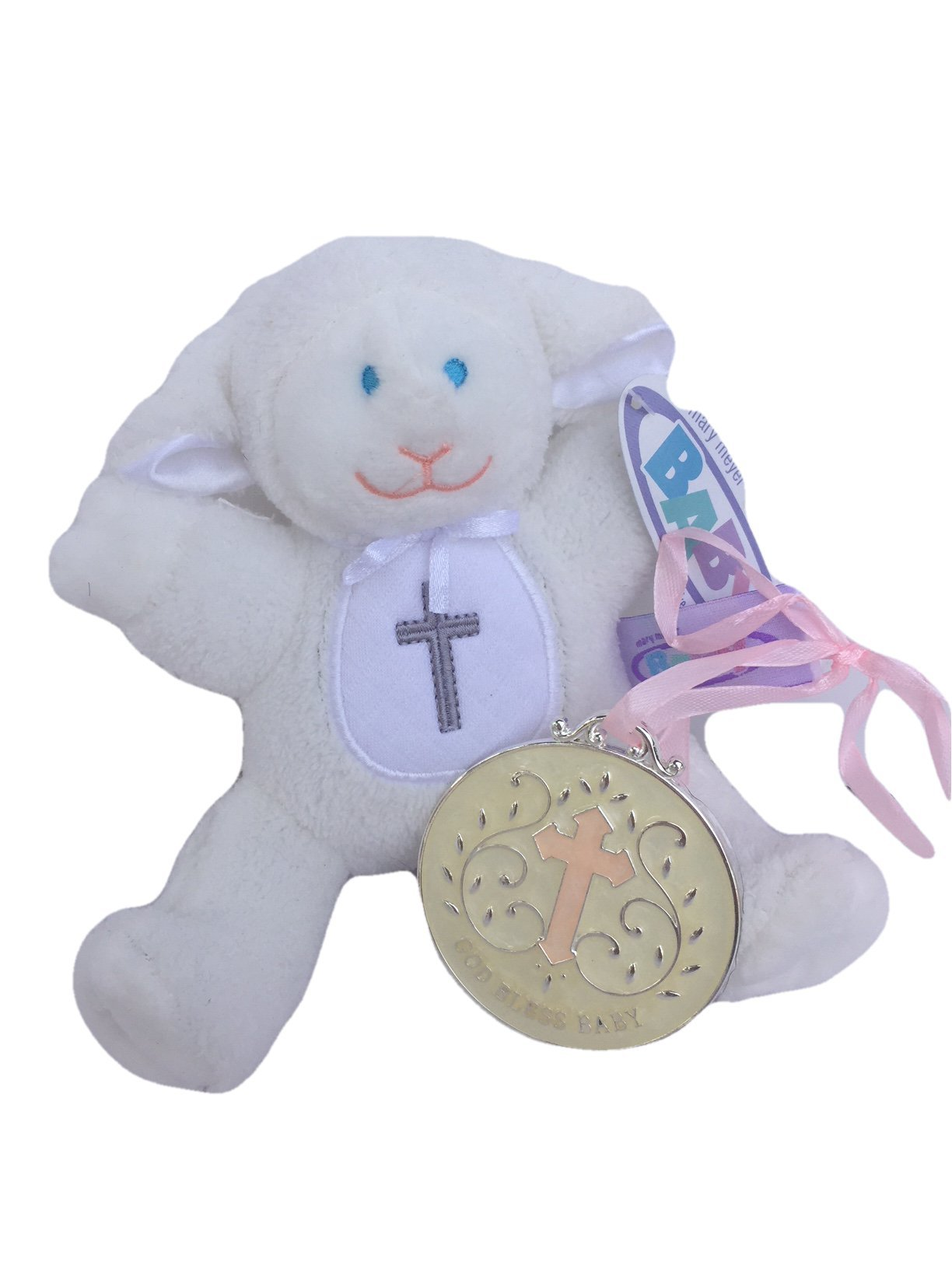 Mary Meyer Christening Plush Rattle Lamb With Crib Cross Christening or Baptism Gift (Pink)