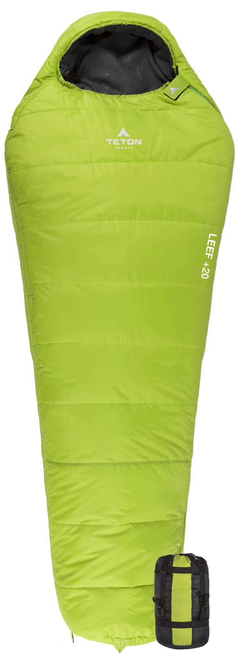 TETON Sports LEEF Lightweight Scout Mummy Sleeping Bag; Great for Hiking, Backpacking and Camping; Free Compression Sack: Green by TETON Sports