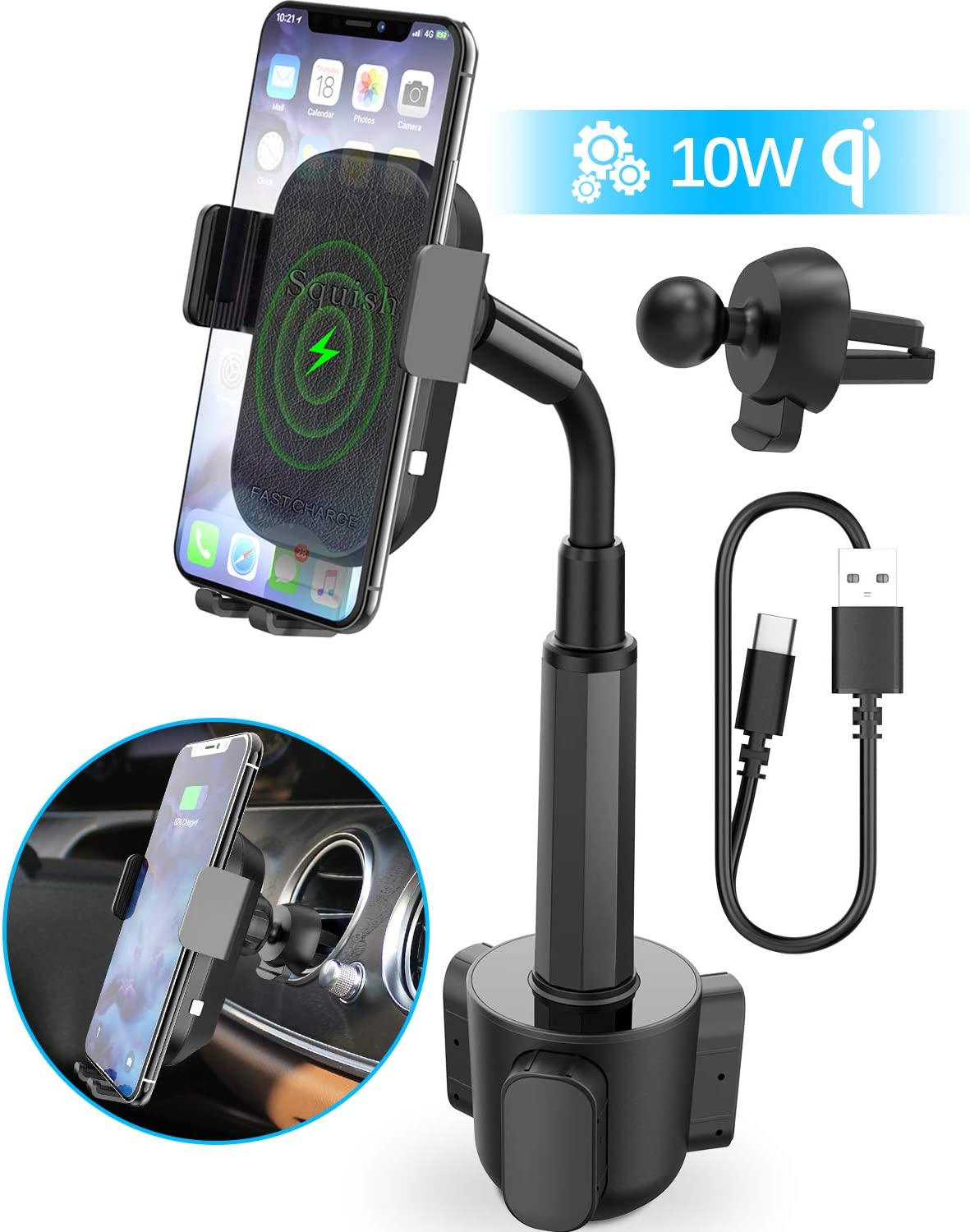 Wireless Car Charger, Squish 2 in 1 Universal Cell Phone Holder Cup Holder Phone Mount Car Air Vent Holder for iPhone, Samsung, Moto, Huawei, Nokia,