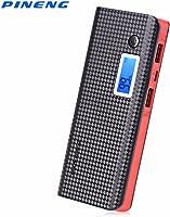 Carregador Portátil Power Bank Pineng 10000mah Preto e Vermelho USB Lanter