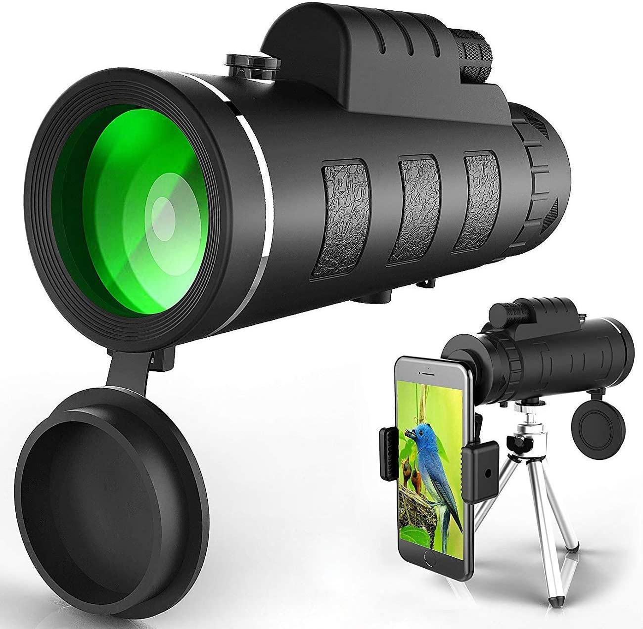 Monocular Telescope, High Power Monocular Scope Waterproof Monoculars with Phone Clip and Tripod for Cell Phone for Bird Watching 03