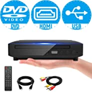 Mini DVD Player, All Region DVD CD/Disc Player for TV with HDMI/AV Output, HDMI/AV Cables Included, HD 1080P Supported Built