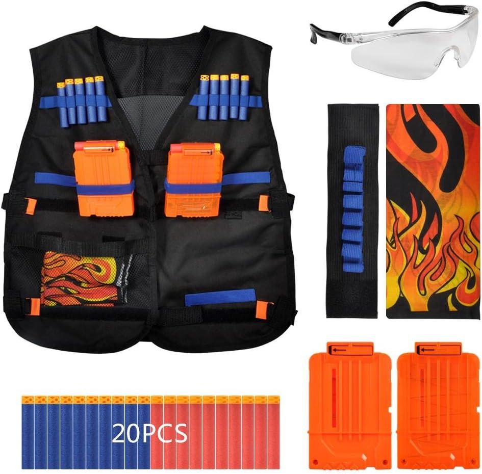 Tbest Kids Elite Chaleco para Eva Pistola de N-Strike Elite Series Chaleco Tactical Jacket Set Kit de Armadura de Combate Juego de Accesorios para niños para Juegos de CS