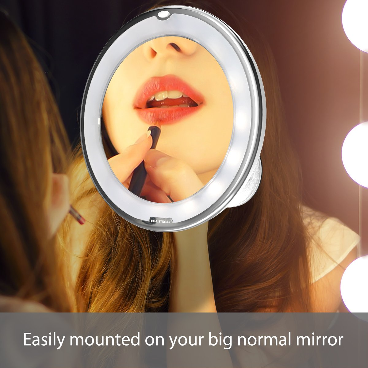 Beautural 10X Magnifying Lighted Vanity Makeup Mirror with Natural White LED, 360 Degree Swivel Rotation and Locking Suction by Beautural (Image #5)