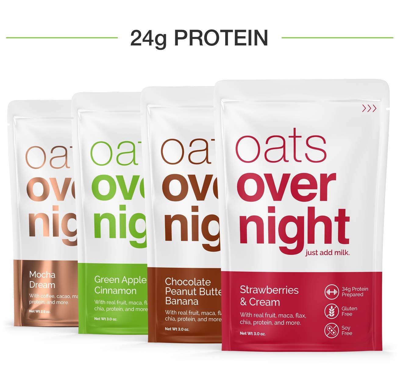 Oats Overnight (3 onzas por paquete) de alto valor proteico/bajo de azúcar en 24 Paquete de Variedad
