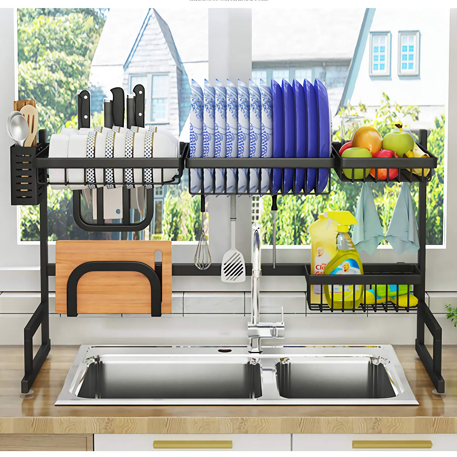 "Over Sink(33"") Dish Drying Rack, Drainer Shelf for Kitchen Supplies Storage Counter Organizer Utensils Holder Stainless Steel Display- Kitchen Space Save Must Have (Sink size≤33 1/2 inch, black)"