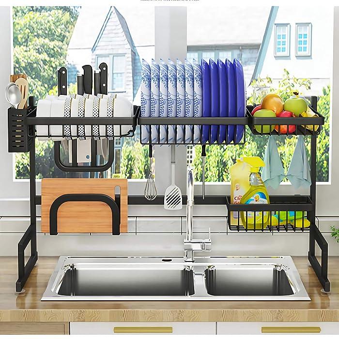"Over Sink(33"") Dish Drying Rack, Drainer Shelf for Kitchen Supplies Storage Counter Organizer Utensils Holder Stainless Steel Display- Kitchen Space Save Must Have (Sink size≤33 1/2 inch, black)"