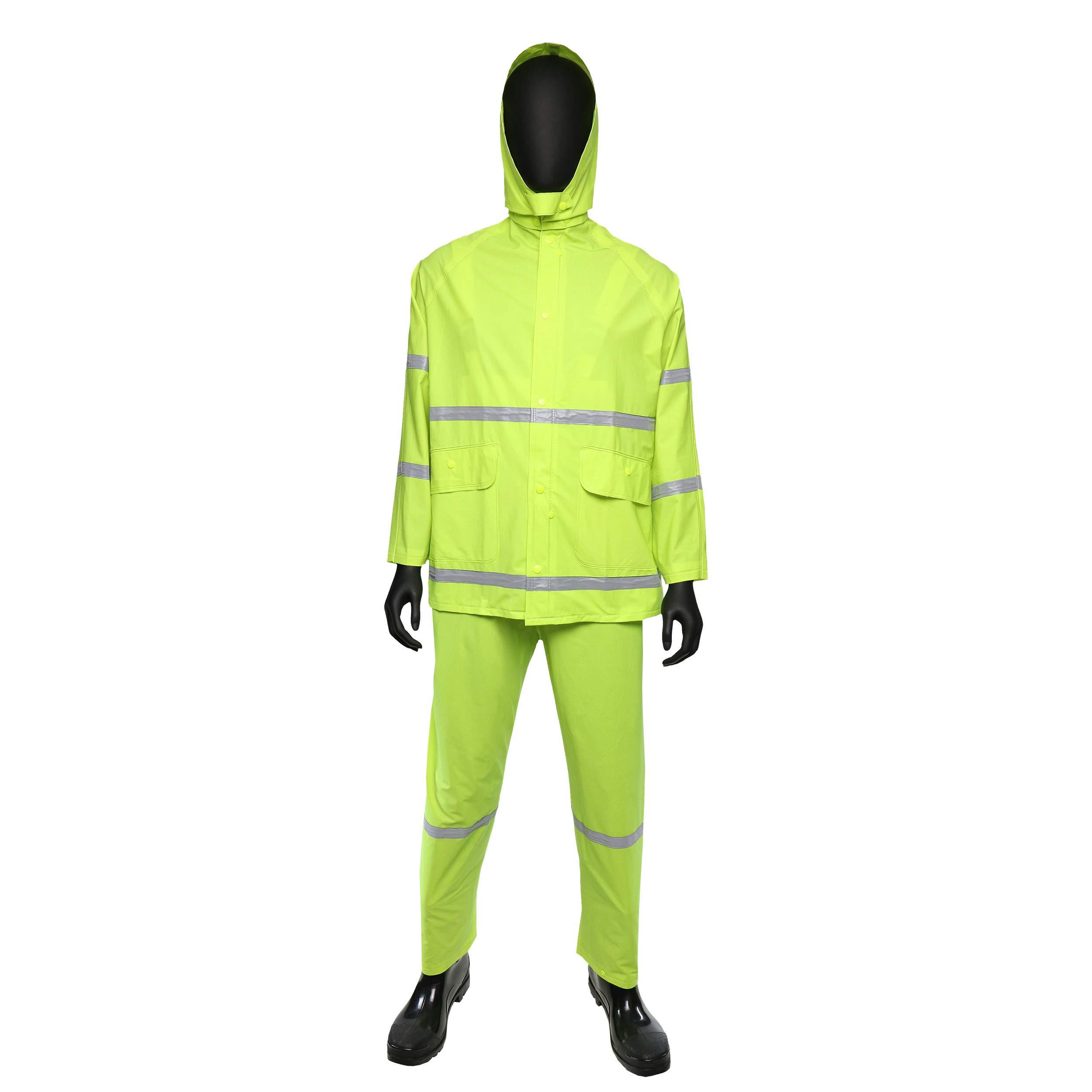 West Chester 4031 XX2XL 35 mil PVC Rain Suit Class 1, 4XL, Lime