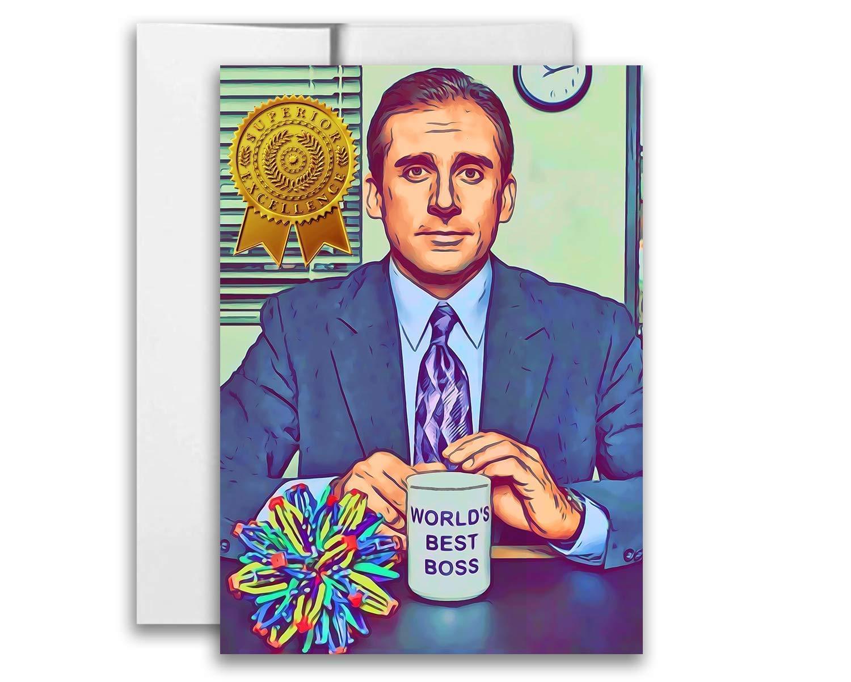 The Office Best Boss Michael Scott Folded Card 5x7 inch w/Envelope