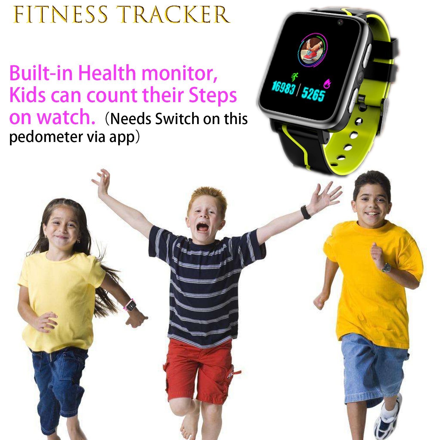 Jesam Kids Music Player Smart Watch - Smart Watch with Mp3 FM Player Watch [with 1GB Micro SD Card] and Camera Flashlight SIM Slot Phone Call Voice Chat for Students Age 4-12 (Black&Yellow) by Jesam (Image #5)