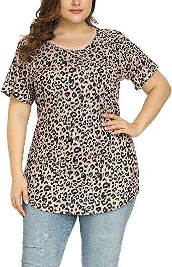 Plus Size Womens Short Sleeve Summer Blouse Ladies Leopard Casual Tops T Shirt