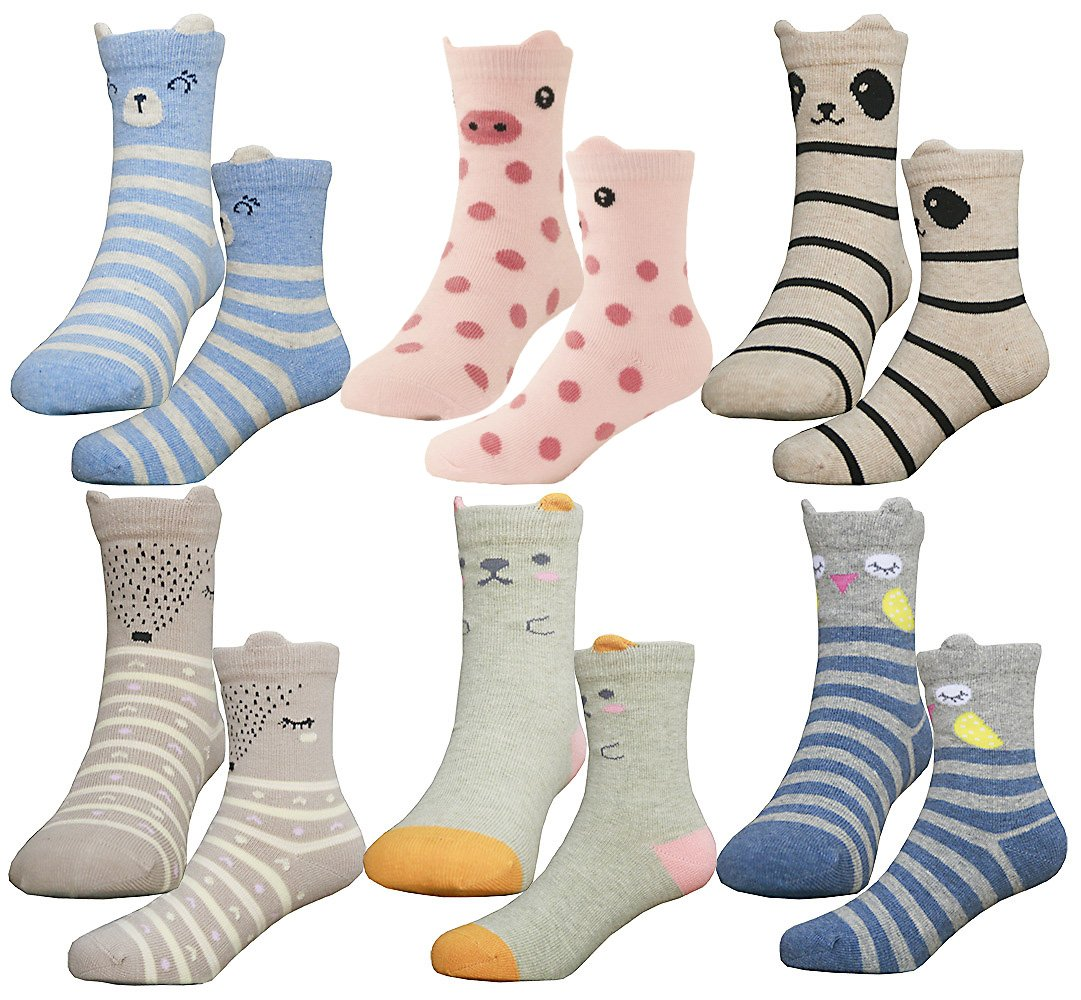 HzCodelo Kids Toddler Big Little Girls Fashion Cotton Crew Seamless Socks -6 Pairs,Multicolor,Shoe size 12.5-3/L by HzFluo.Codelo (Image #1)