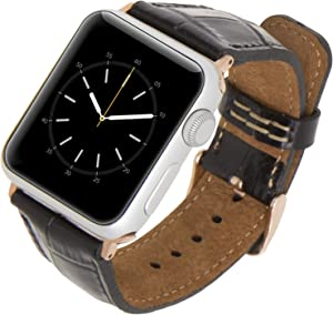 Venito Tuscany Leather Watch Band Compatible with Apple Watch 42mm 44mm - Watch Strap for iwatch Series 1 2 3 4 5 6 SE (Black Crocodile w/Rose Gold Connector&Clasp)