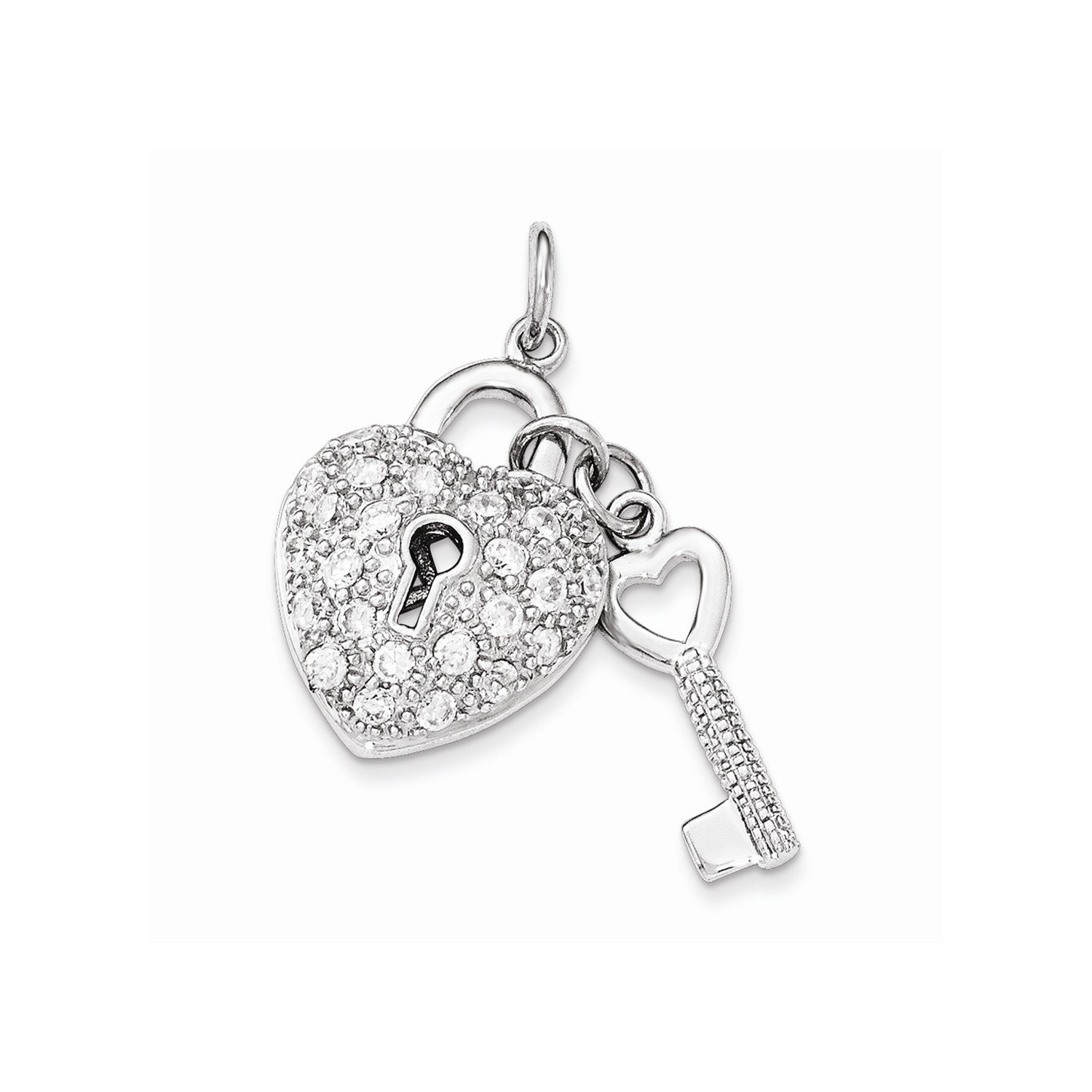West Coast Jewelry Sterling Silver CZ Heart Lock /& Key Pendant