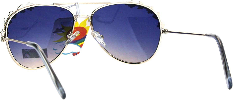 Girls Fashion Sunglasses Flower Floral Design Metal Frame Aviators UV 400