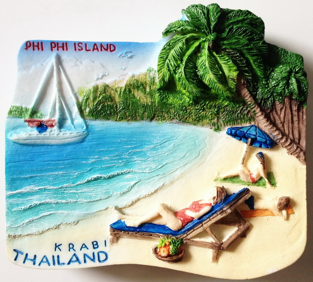 PHI PHI Island Krabi Thailand High Quality Resin 3D fridge Refrigerator Thai Magnet Hand Made Craft.