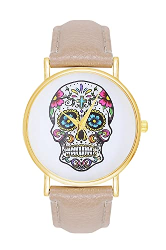 Mujer Reloj Sugar Candy Skull Tattoo cráneo Calavera Color: Crema Beige Oro Reloj de pulsera