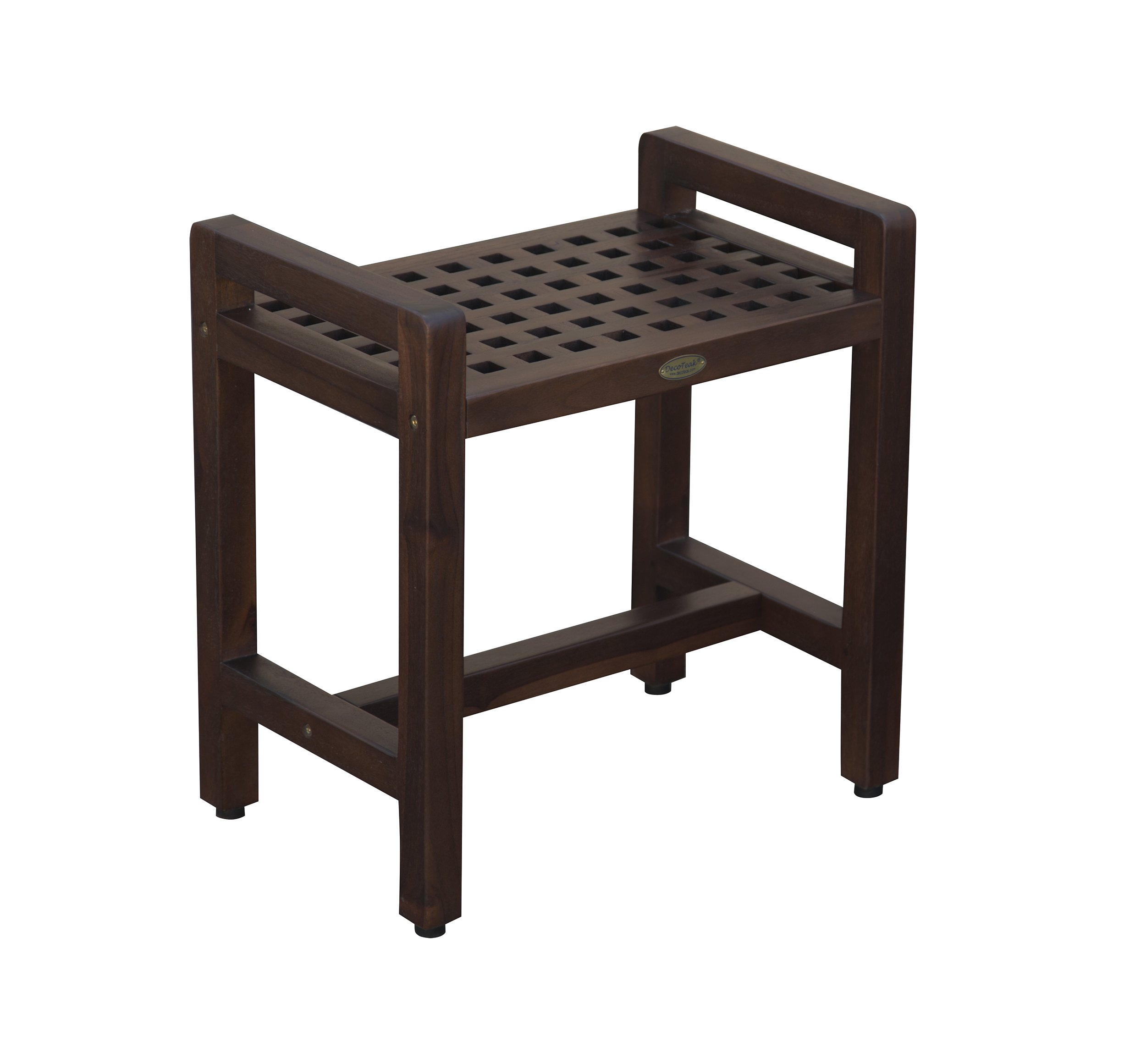 Decoteak Contemporary Teak Shower Stool 20'' Espalier Lattice Pattern- Adjustable Height Foot Pads