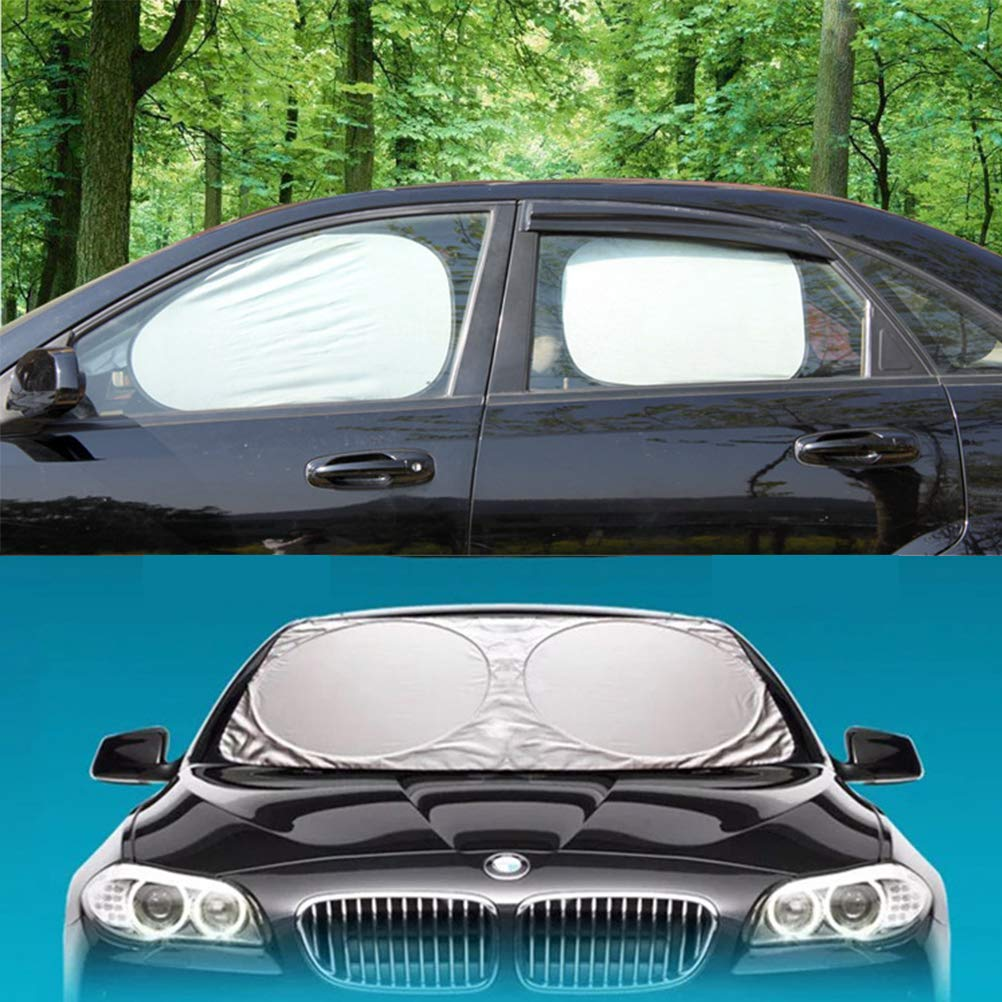 Windshield Sun Shade/Made of 210T Silver Coated Cylon/Effective Insulation/Fits Windshields of Various Sizes (Standard 59 x 31 inches) (6 Sets) by g-oo-d (Image #5)