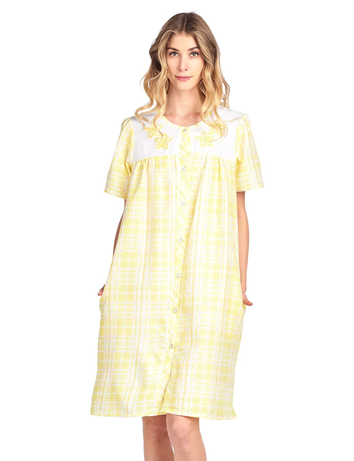 Casual Nights Women's Short Sleeve Snap-Front Lounger Duster House Dress Lounge Housecoat