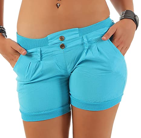 Malito Damen Shorts in Unifarben   lässige Kurze Hose   Bermuda für den Strand   Pants - Hotpants 6089