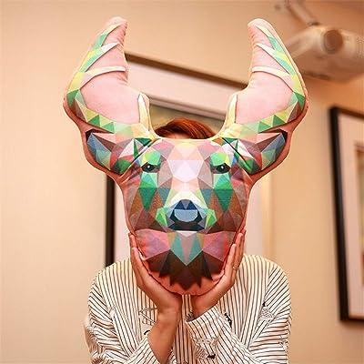 Almohada Blanda Creativa de Animales de Ciervo con impresión 3D, muñeca de decoración de la habitación de Juguetes de Peluche Lindos para bebés, Regalo de cumpleaños para niños 40x55 cm 1 Piezas: Juguetes y juegos