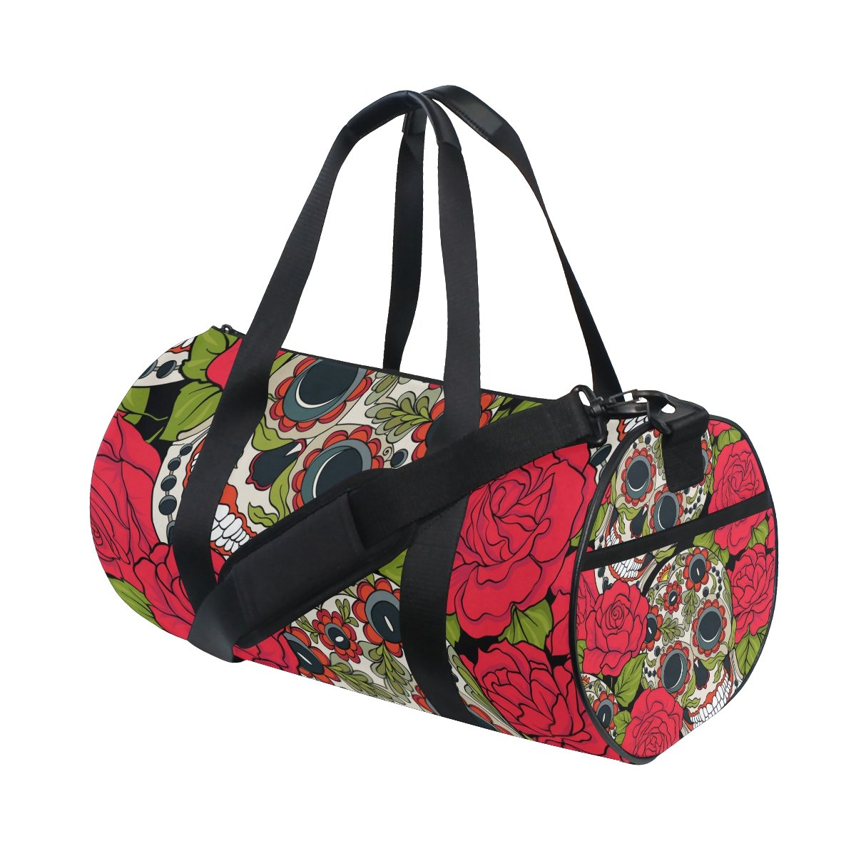 Naanle Sugar Skull Rose Day Of The Dead Dia De Los Muertos Gym bag Sports Travel Duffle Bags for Men Women Boys Girls Kids