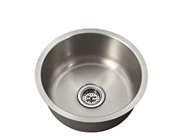 Schon SCSBR18 Undermount 18 Gauge Single Bowl Round Bar Sink 17 1/8