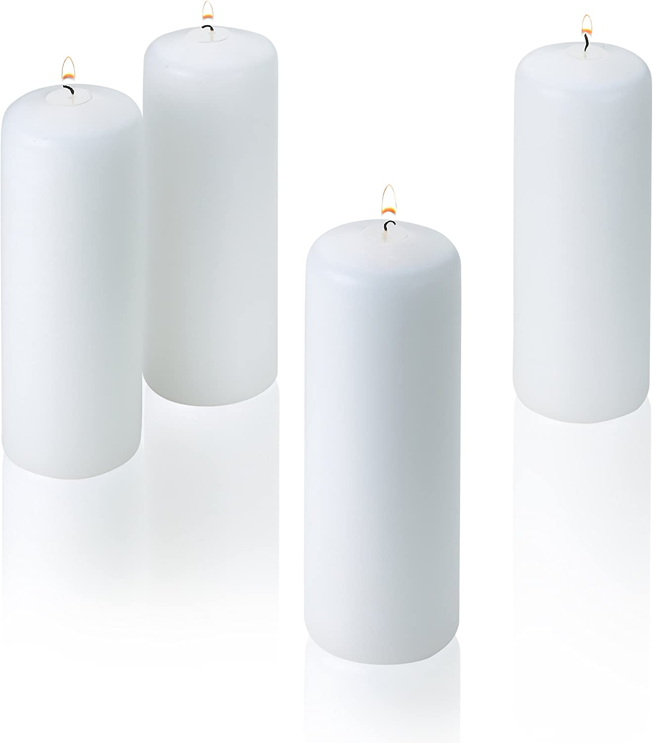 Light In The Dark White Pillar Candles - Set of 4 Unscented Candles - 6 inch Tall, 2 inch Thick - 36 Hour Clean Burn Time
