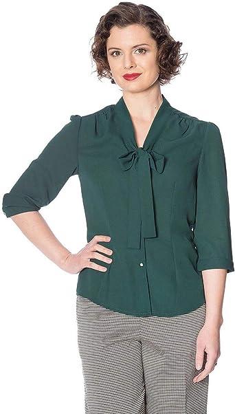 Banned Retro Lazo 50s Vintage Camisa Blusa - Verde, 14: Amazon.es: Ropa y accesorios