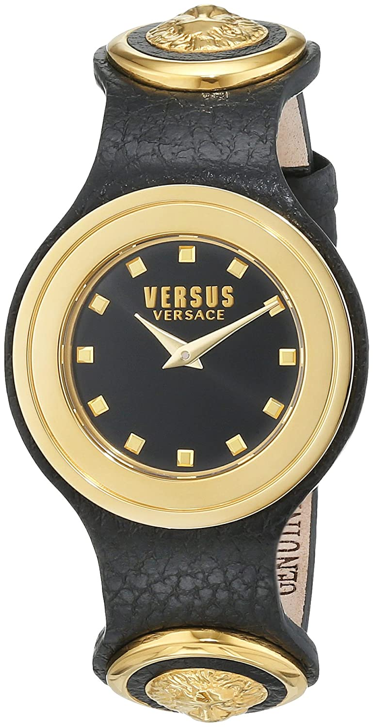 Versus by Versace Women 's ' Carnaby Street ' QuartzステンレススチールandレザーCasual Watch, Color : Black (Model : scg020016 ) B0185OYYVI